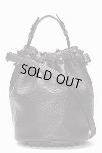 【Alexander Wang】Black Leather matte studded Diego Bucket bag・