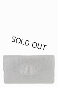 【Alexander Wang】Black Leather Reptile Embossed Trifold Lydia Clutch・